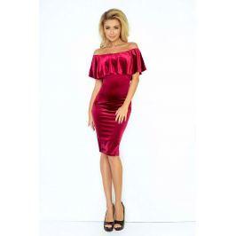 Burgundowa Sukienka Ołówkowa z Hiszpańskim Dekoltem