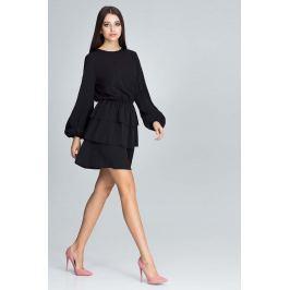 Czarna Romantyczna Wyjściowa Sukienka z Długimi Bufiastymi Rękawami
