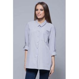 Szara Nowoczesna Oversizowa Koszula z Długim Rękawem