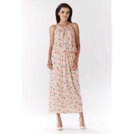 Różowa Długa Wzorzysta Sukienka Wiązana na Karku - Ptaki