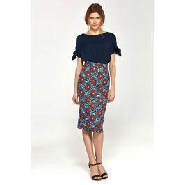 Kwiatowa Klasyczna Ołówkowa Midi Spódnica