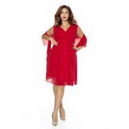 Czerwona Sukienka Wieczorowa z Szalem PLUS SIZE