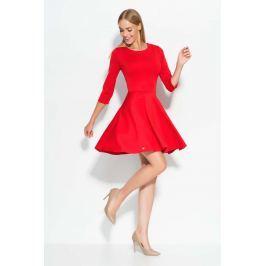 Czerwona Sukienka Mini z Szerokim Dołem