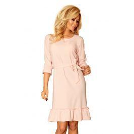 Różowa Sukienka z Falbankami Przewiązana Paskiem
