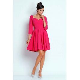 Różowa Kobieca Rozkloszowana Sukienka z Dekoltem w Serce