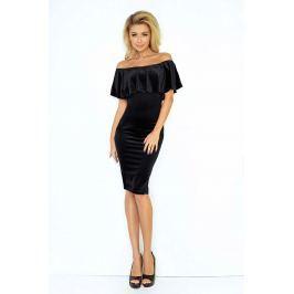 Czarna Sukienka Ołówkowa z Hiszpańskim Dekoltem