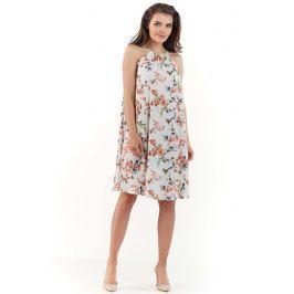 Ecru Zwiewna Sukienka Midi w Kwiatowy Wzór z Wiązanym Dekoltem