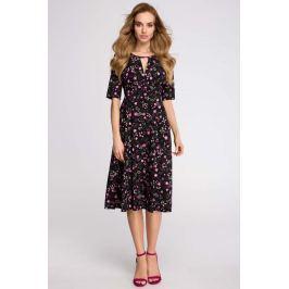 Czarna Stylowa Sukienka Midi w Kwiatki