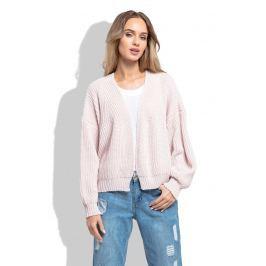 Pudrowy Krótki Sweter bez Zapięcia z Grubszym Splotem