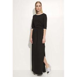 Czarna Sukienka Maxi z Lamówkami