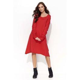 Czerwona Sukienka Trapezowa z Marszczonym Rękawem