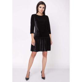 Czarna Wyjściowa Sukienka z Obniżonym Stanem Wykończona Falbanką