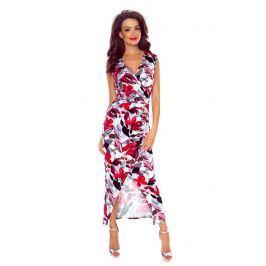 Długa Elegancka Sukienka Kopertowa w Czerwone Kwiaty