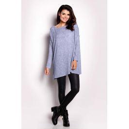 Niebieski Sweter Lekki z Długim Rękawem
