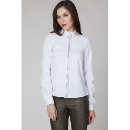 Biała Elegancka Koszula z Biżuteryjną Plisą