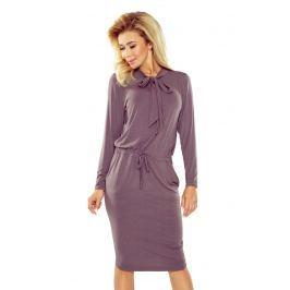 Beżowa Sukienka z Wiązaniem przy Dekolcie