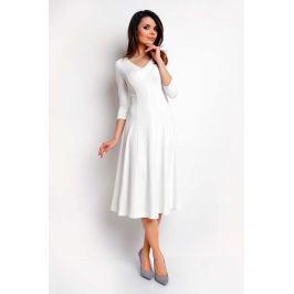 Ecru Elegancka Rozkloszowana Sukienka z Dekoltem V