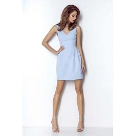 Niebieska Wyjściowa Lekko Rozkloszowana Sukienka z Dekoltem na Plecach