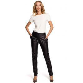 Czarne Eleganckie Spodnie Rurki z Eko-skóry