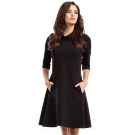 Czarna Sukienka Trapezowa Dzianinowa z Golfem Sukienki i suknie