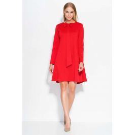 Czerwona Sukienka Trapezowa z Krawatką i Kokardą Sukienki i suknie