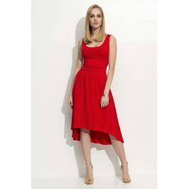 Czerwona Sukienka Asymetryczna na Szerokich Ramiączkach