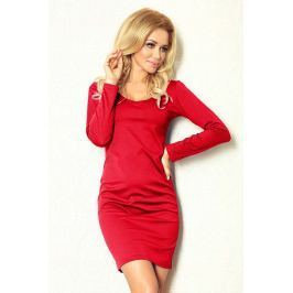 Czerwona Sukienka Dopasowana z Długim Rękawem Sukienki i suknie