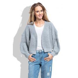 Szary Krótki Sweter bez Zapięcia z Grubszym Splotem Sweterki