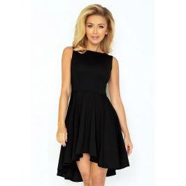 Czarna Sukienka Elegancka Mocno Rozkloszowana z Wydłużonym Tyłem Sukienki i suknie