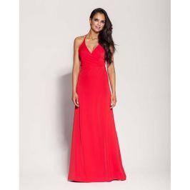 Czerwona Elegancka Długa Sukienka Wiązana na Szyi Sukienki i suknie