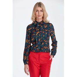 Stylowa Bluzka Koszulowa z Wiązaną Kokardą przy Dekolcie - Wzór Brąz Bluzki i bluzeczki damskie