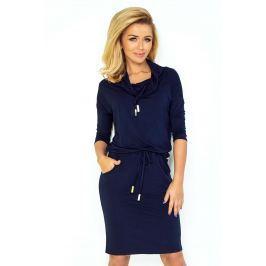 Granatowa Sukienka Ołówkowa z Golfem Wiązana w Pasie Sukienki i suknie
