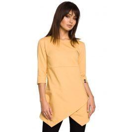 Żółta Tunika z Dołem na Zakładkę Bluzki i bluzeczki damskie