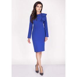 Kobaltowa Sukienki Ołówkowa Midi z Falbaną na Ramieniu Sukienki i suknie