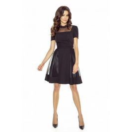 Czarna Sukienka Wieczorowa Midi z Siateczką