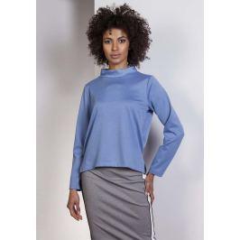 Niebieska Wyjściowa Trapezowa Bluzka ze Stójką Bluzki i bluzeczki damskie