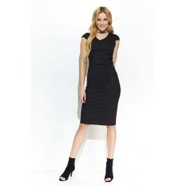 Czarna Wyjściowa Dopasowana Sukienka Marszczona na Boku Sukienki i suknie