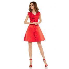 Czerwona Imprezowa Sukienka z Falbanką Sukienki i suknie