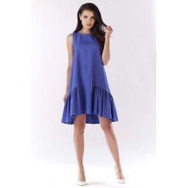 Niebieska Sukienka Wizytowa z Falbanką na Dole