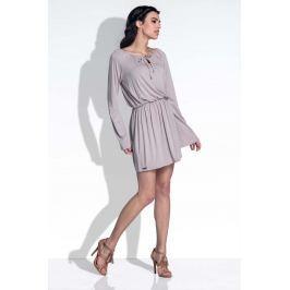 Mocca Sukienka z Rozkloszowanymi Rękawami Sukienki i suknie