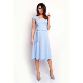 Niebieska Wyjściowa Rozkloszowana Sukienka z Dekoltem Karo