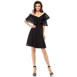 Czarna Koktajlowa Sukienka na Jedno Ramię z Falbanką z Siateczki Sukienki i suknie