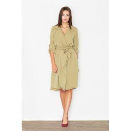 Szlafrokowa Zielona Sukienka z Podpinanym Rękawem Sukienki i suknie
