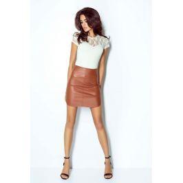 Karmelowa Kobieca Spódnica Mini z Eko-skóry