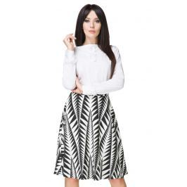 Biało- Czarna Spódnica Klasyczna Midi z Koła