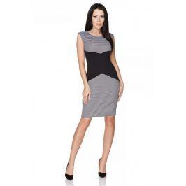 Biało-Czarna Sukienka Ołówkowa bez Rękawów z Czarną Wstawką