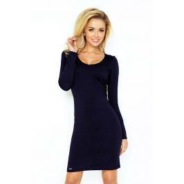 Granatowa Sukienka Dopasowana z Długim Rękawem Sukienki i suknie