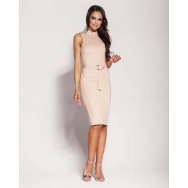 Beżowa Elegancka Ołówkowa Sukienka z Połyskiem Sukienki i suknie