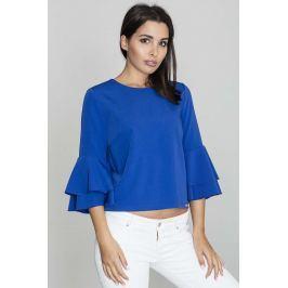 Niebieska Krótka Bluzka z Rozkloszowanymi Rękawami Bluzki i bluzeczki damskie