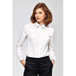 Ecru Koszulowa Bluzka z Zakładkami przy Dekolcie Bluzki i bluzeczki damskie